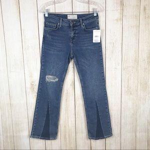 Free People Colorblock Crop Jeans Lt Denim Size 26